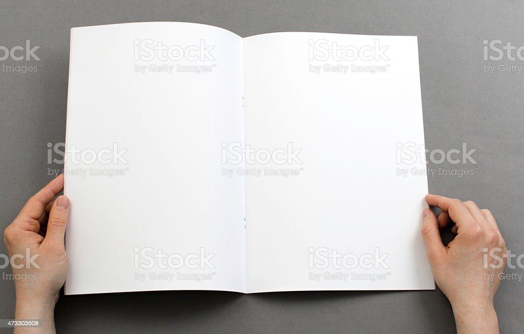 Looking at a blank catalog stock photo