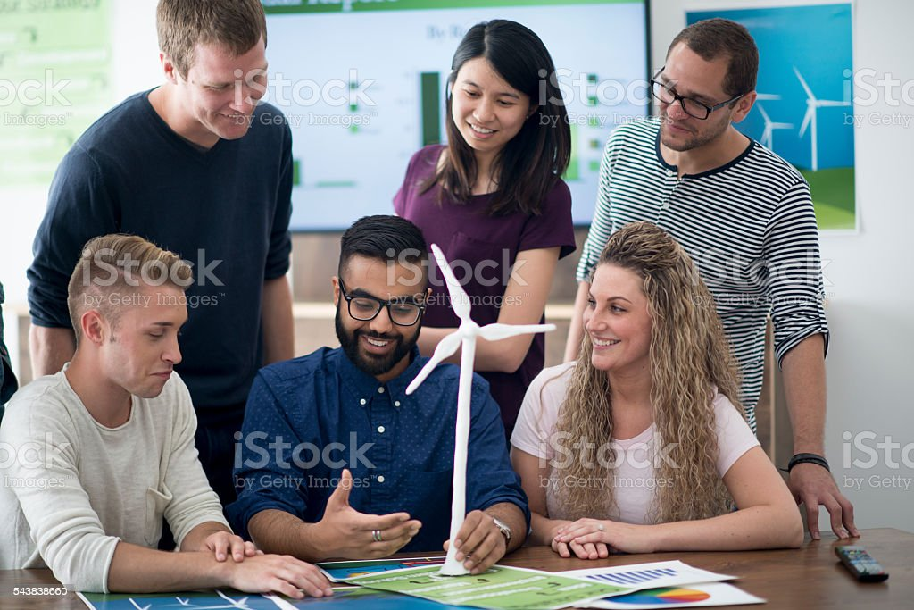 Looking at a Model Wind Turbine stock photo