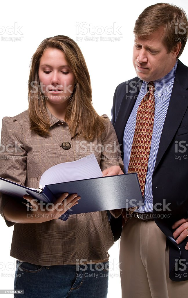 looking at a report stock photo