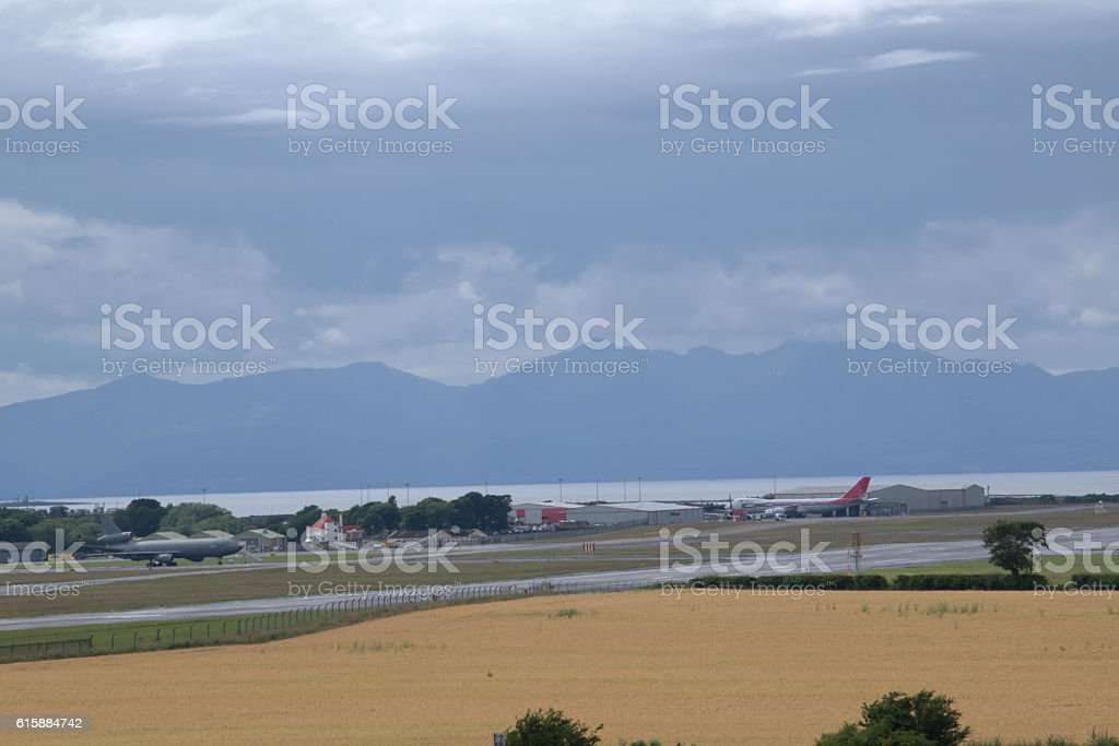 Looking at Arran over Prestwick Airport stock photo