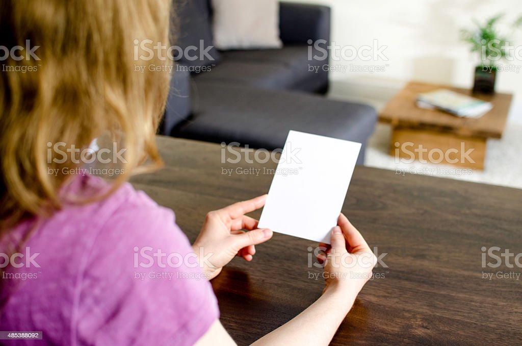 Looking at at a blank card stock photo