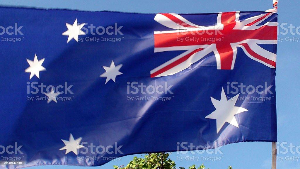 Looking At Australian National Flag Waving stock photo