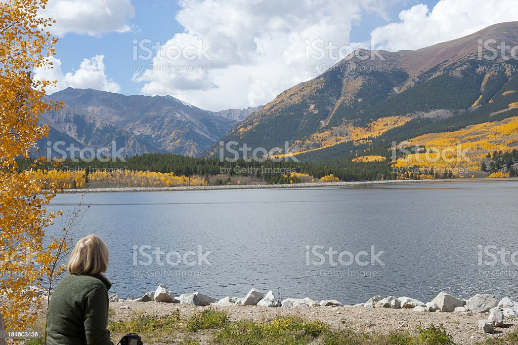 Looking at Autumn Colors of Mount Elbert Forebay royalty-free stock photo