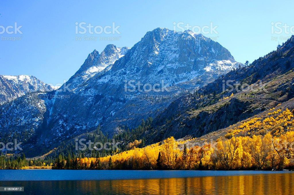 Looking at Banner Peak Across Silver Lake stock photo