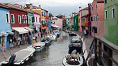 Looking At Burano Island Canal,Exterior Buildings,Boat,In Venice.Italy.Europe