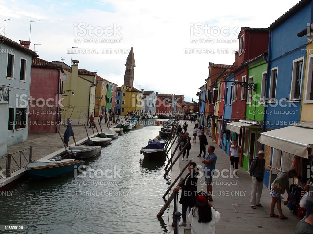 Looking At Burano Island Canal,Exterior Buildings,Boat,In Venice.Italy stock photo
