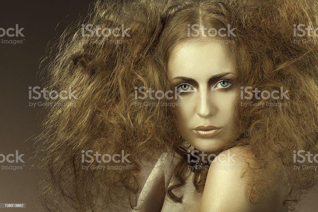 looking at camera woman with backcombing stock photo