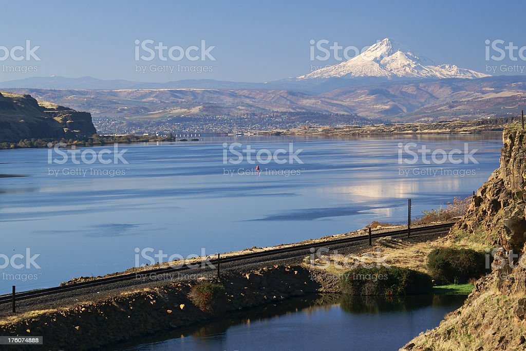 Looking at Columbia River near the Dalles Oregon stock photo