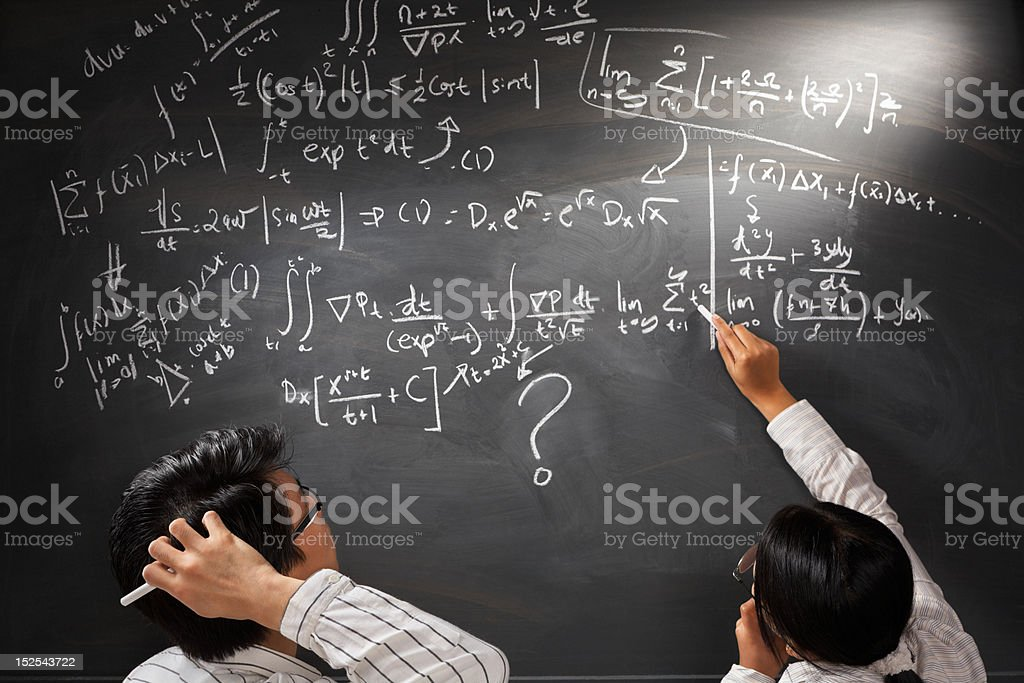 Looking at difficult complex equation stock photo