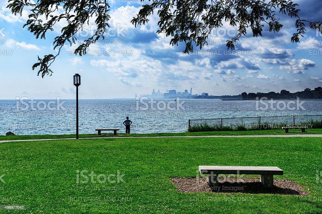 Looking at distant Chicago across Lake Michigan stock photo
