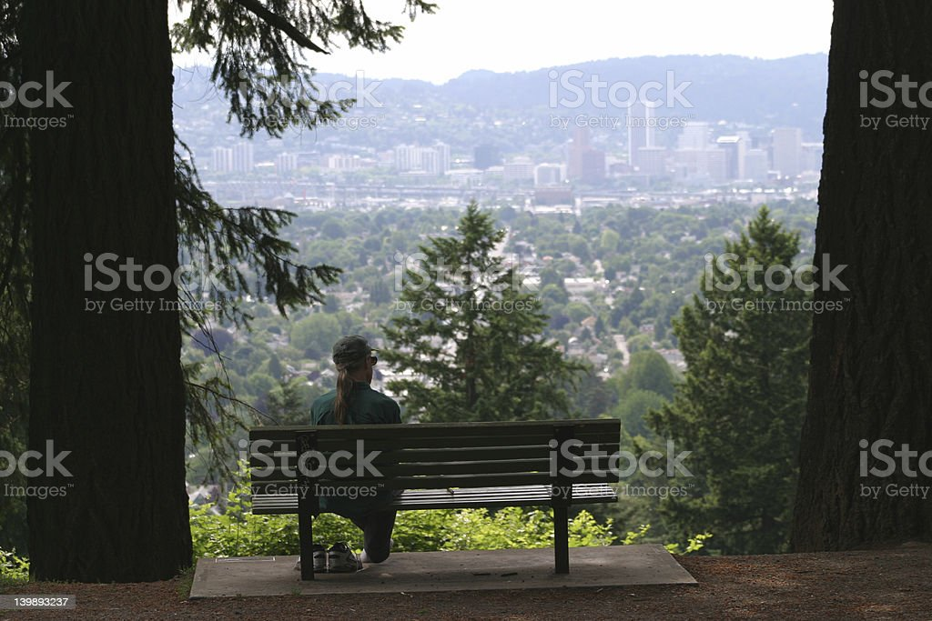 looking at downtown Portland stock photo