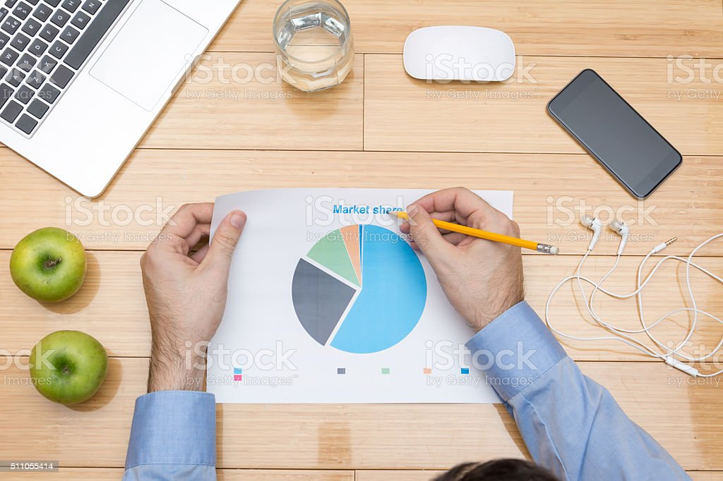 Looking at financial data stock photo