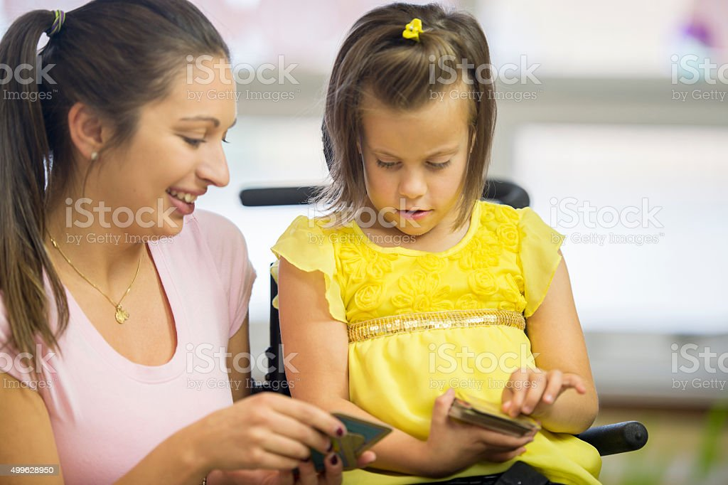 Looking at Flash Cards Together stock photo