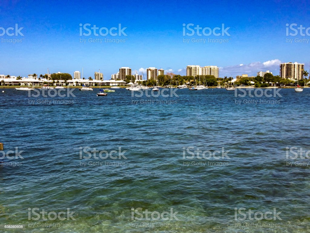 looking at highrise apartments in Florida stock photo
