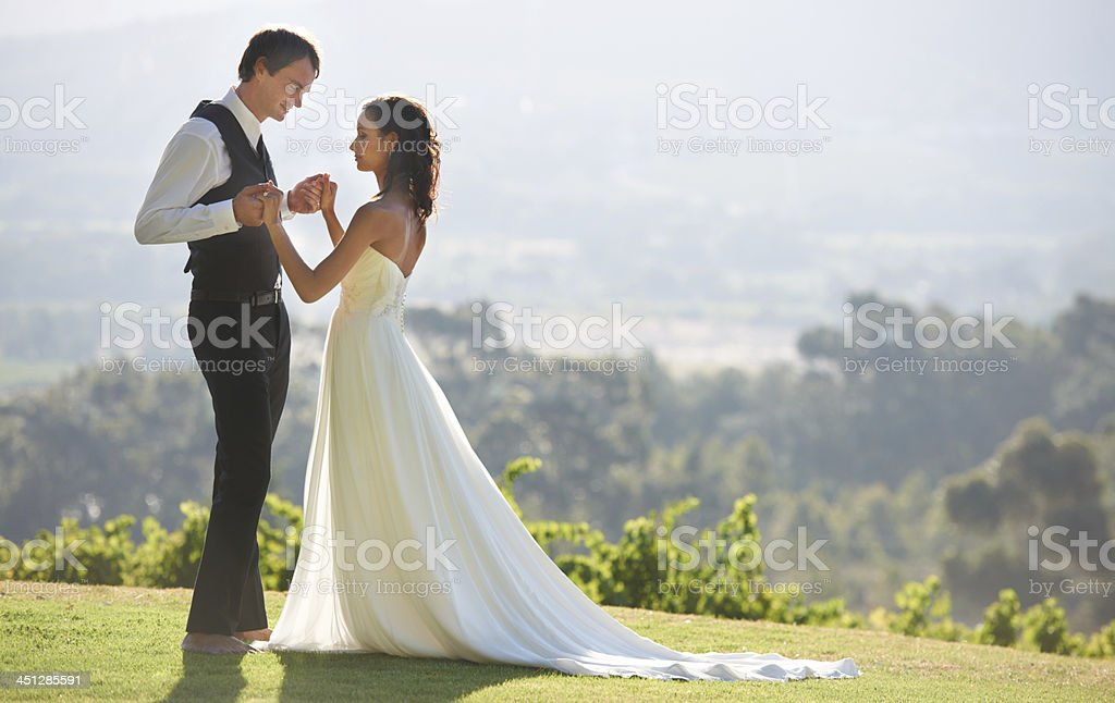 Looking at his beautiful wife stock photo