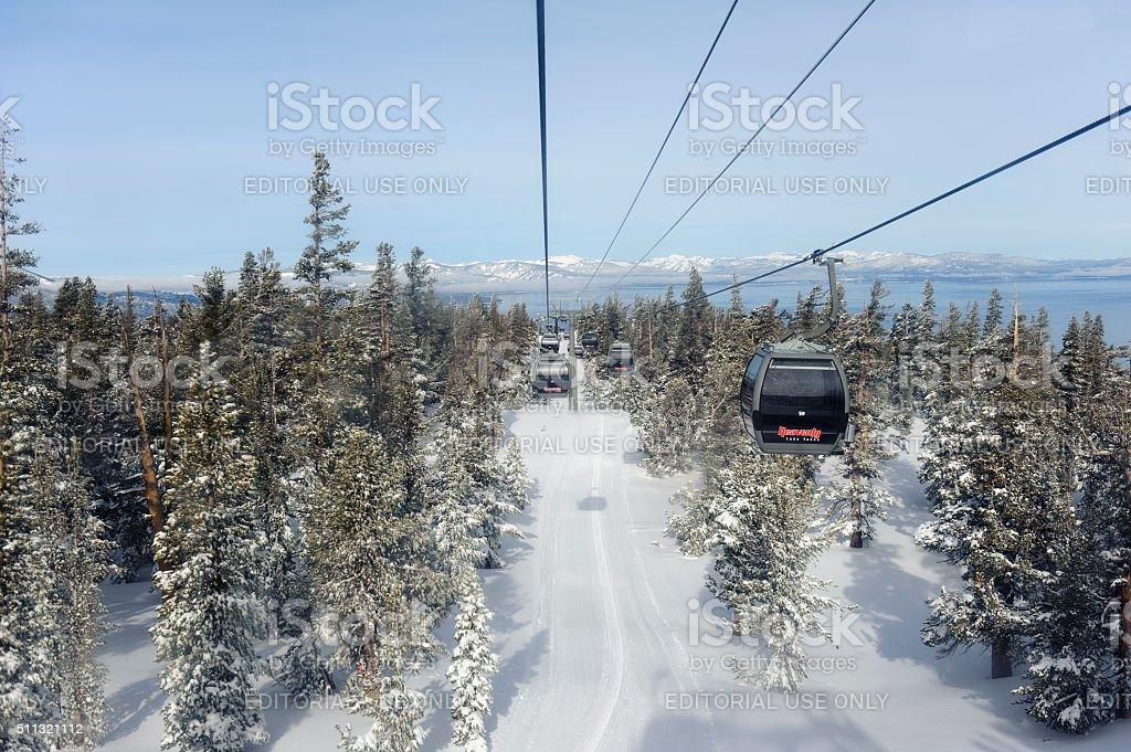 looking at lake tahoe from heavenly ski resort stock photo