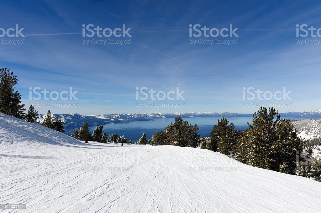 looking at lake tahoe from heavenly ski resort stock photo