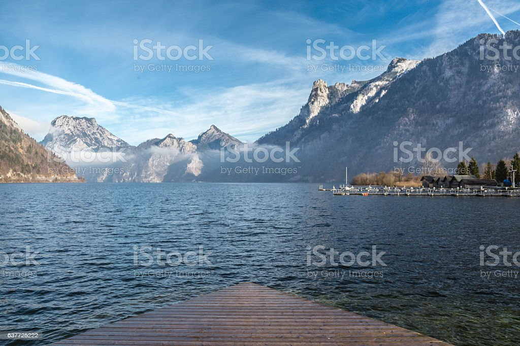 Looking at mountains and lake stock photo