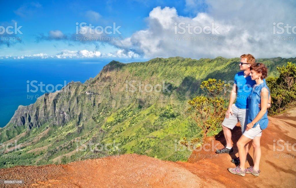 Looking at Na Pali Valley stock photo