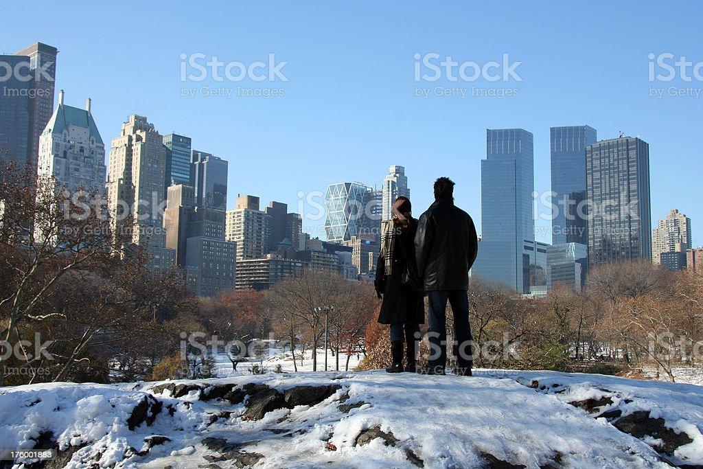 Looking at New York City stock photo