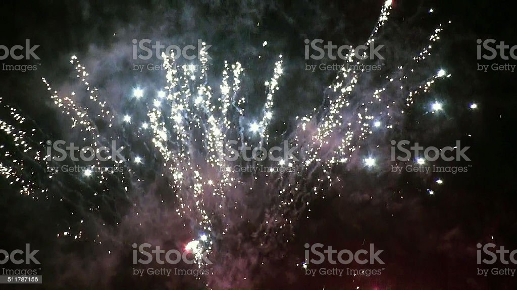 Looking At Party Fireworks In The Night stock photo