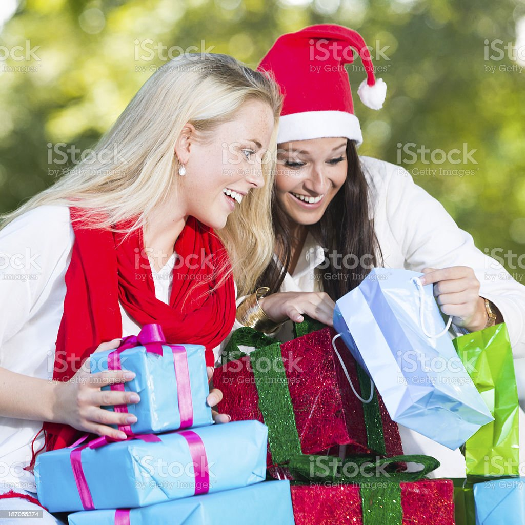 Looking at presents royalty-free stock photo