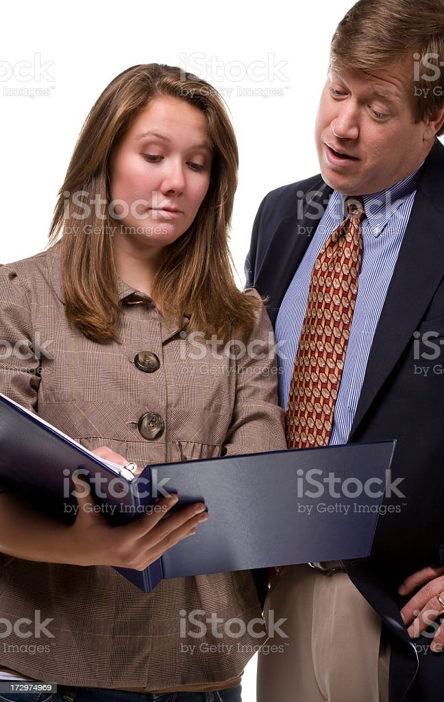 looking at report stock photo