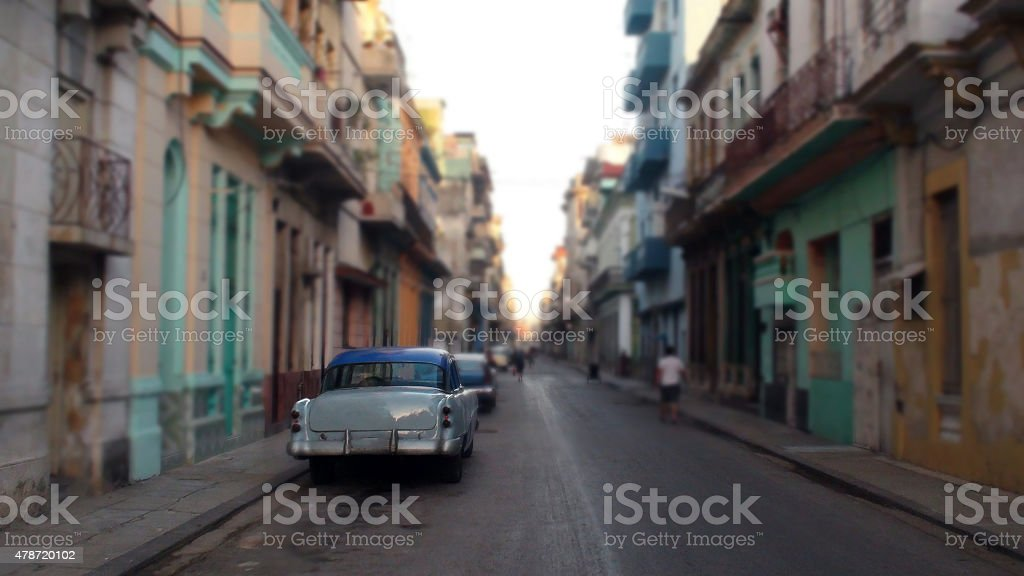 Looking At Residential Homes In Old Havana, Cuba's Capital City stock photo