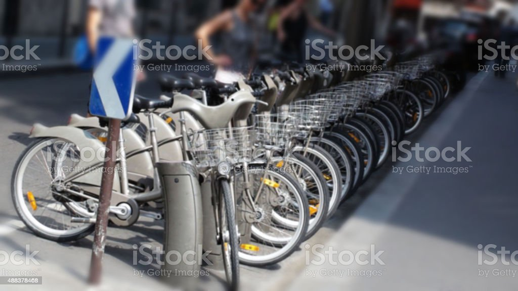 Looking At Row Of  Bicycle In Paris France,Europe stock photo