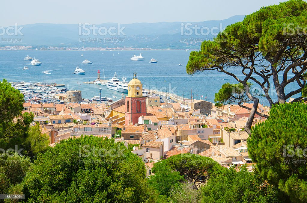 Looking at Saint Tropez in France stock photo