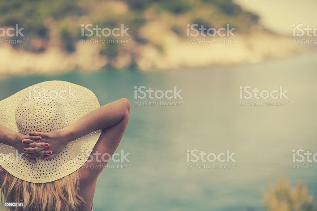 Looking at sea stock photo
