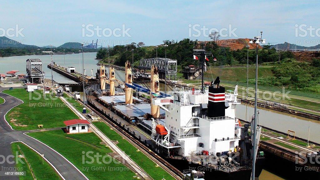 Looking At Ship At Panama Canal Lock In Panama City stock photo