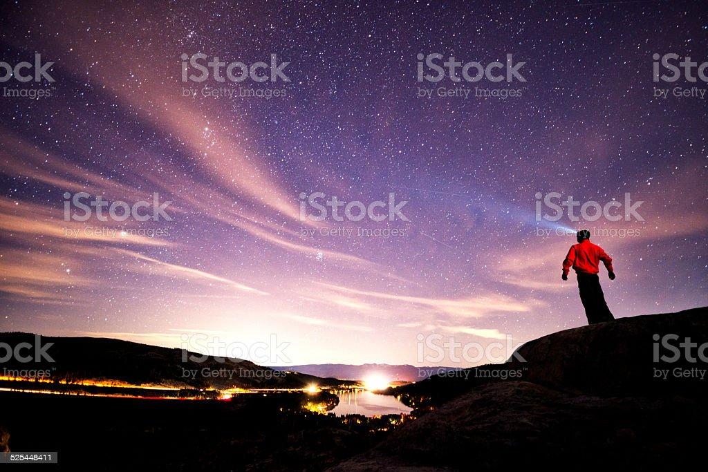 looking at stars stock photo