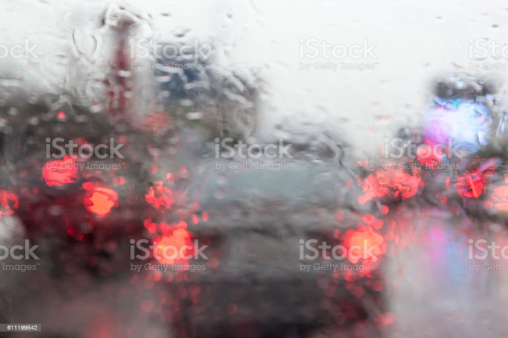looking at tail light throug wind shield lens blur stock photo