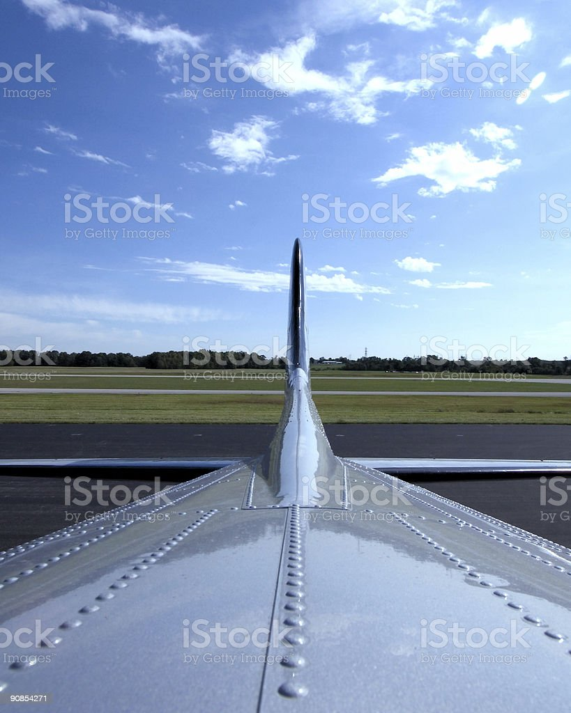 Looking at Tail of Airplane royalty-free stock photo