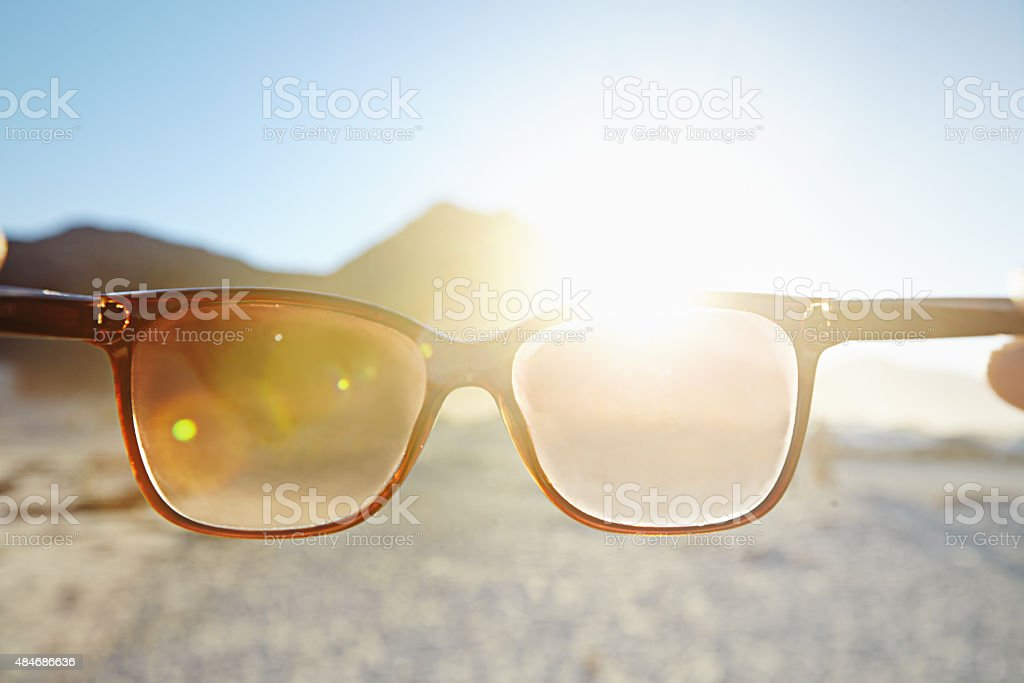 Looking at the bright side of life stock photo
