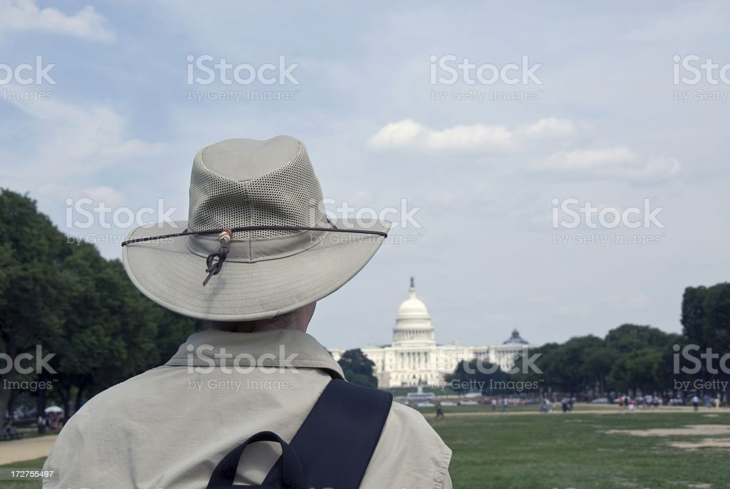 Looking at the Capitol Building stock photo