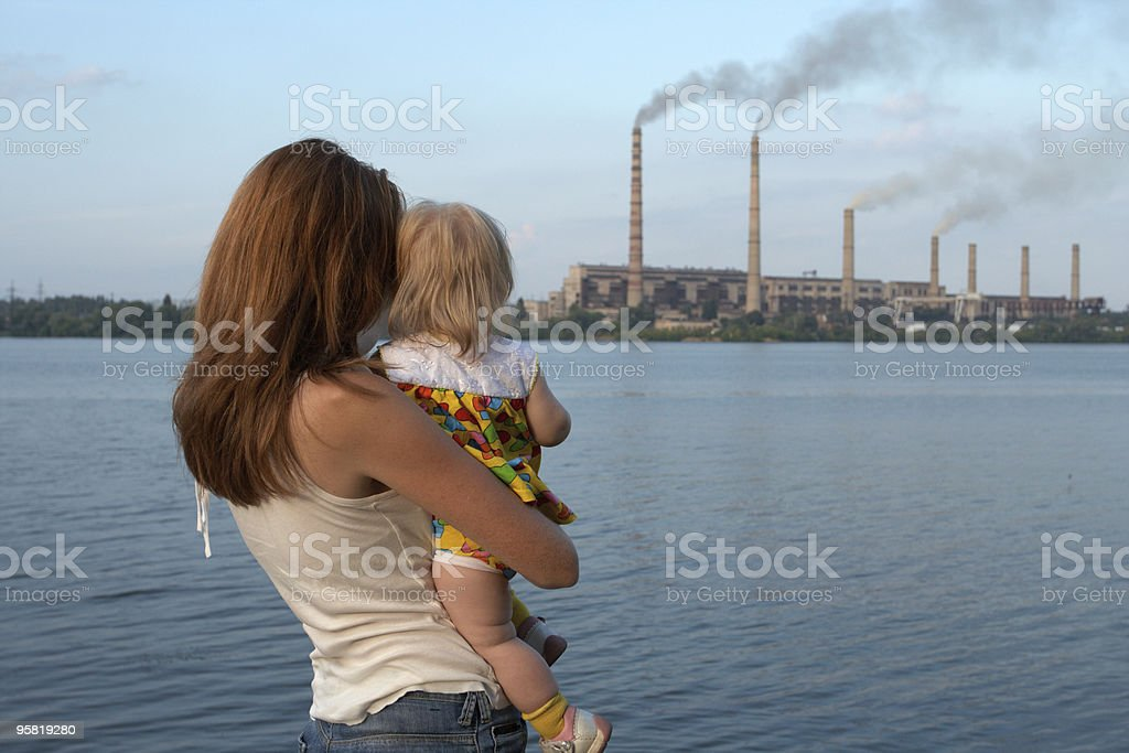 looking at the chimney-stalks stock photo