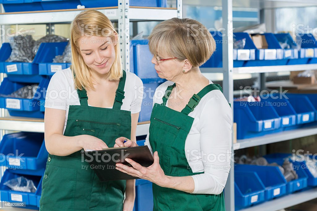 Looking at the clipboard stock photo
