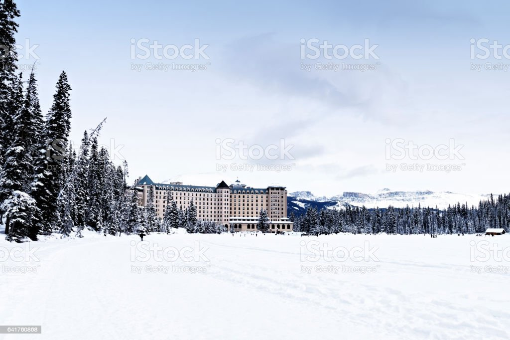 Looking at the Fairmont Chateau Lake Louise in winter,Banff National Park,Alberta,Canada stock photo