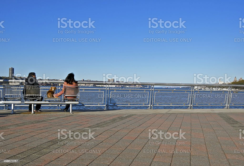 Looking at the Hudson River view, West Side, Manhattan, NYC stock photo