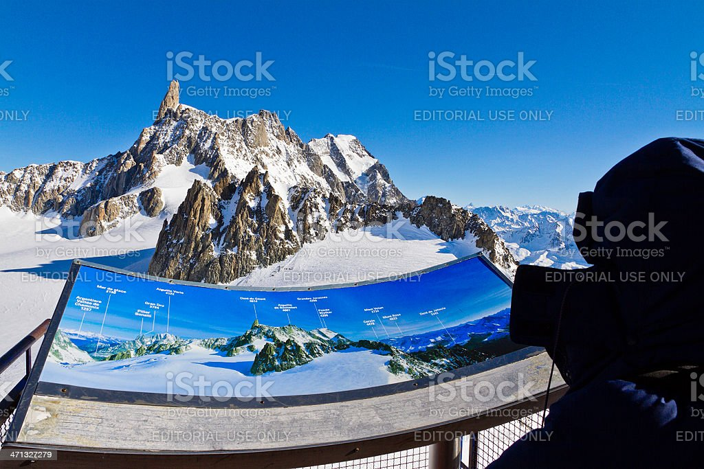 Looking at the Mont Blanc Massif stock photo