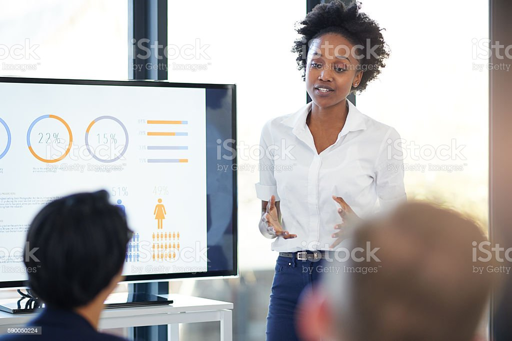 Looking at the previous year's growth stock photo