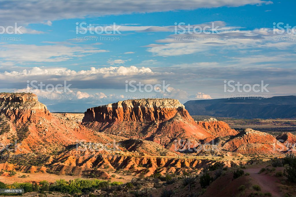 Looking at the red rocks at Ghost Ranch stock photo