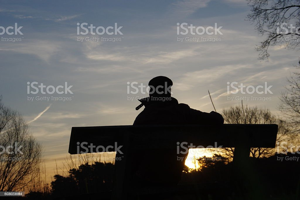 Looking at the sunrise stock photo