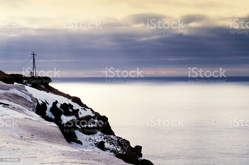 Looking at the view from  view from the promontory Dyrholaey,Iceland stock photo