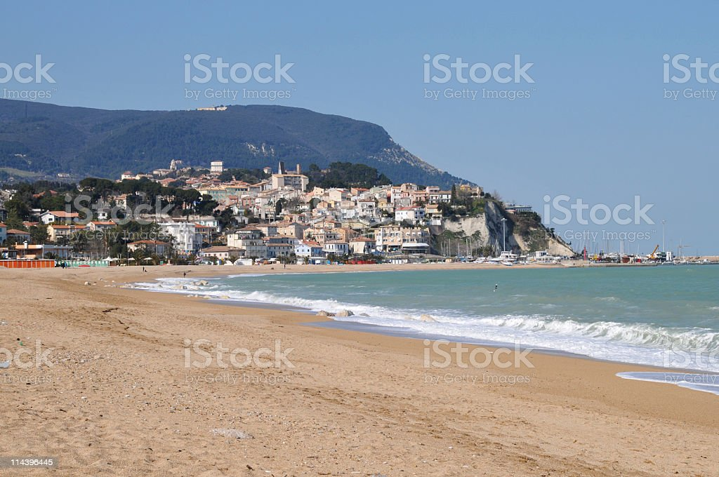 Looking at town and beach of Numana,Marche,Italy stock photo