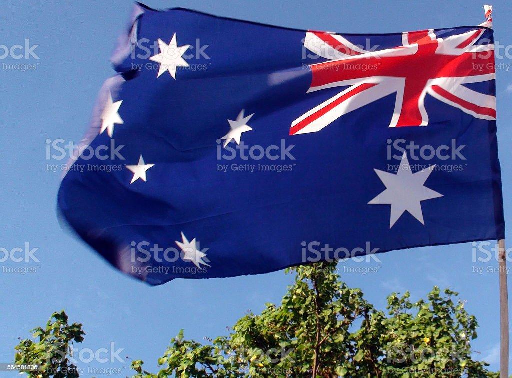 Looking At Tree,Sky And  Australian Flag stock photo