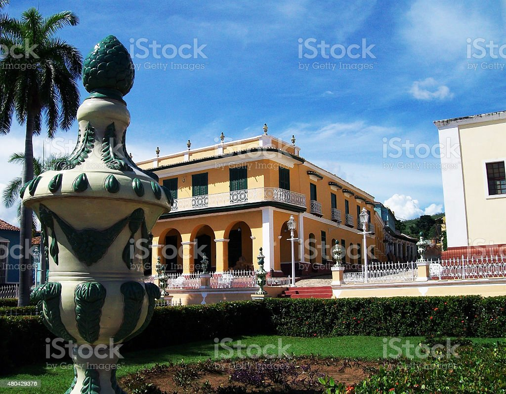 Looking At Trinidad's Plaza Mayor With Beautiful Old Architectures,Cuba stock photo