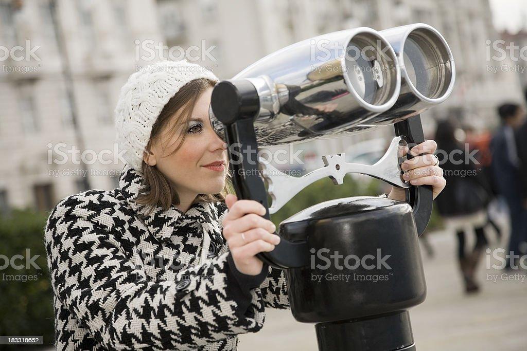 Looking away with Binoculars royalty-free stock photo